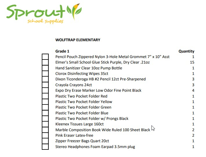 photo of supply list for first grade