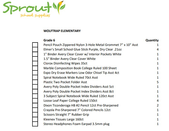 photo of supply list for 6th grade