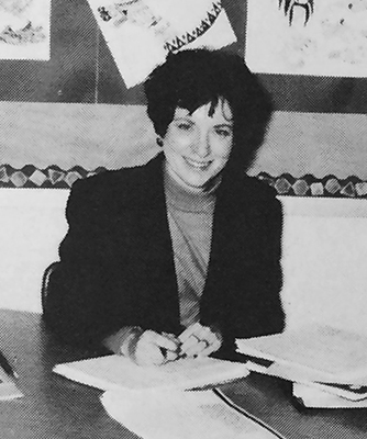Black and white portrait of Candace Leyton from Wolftrap's 1986 to 1987 yearbook.